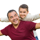 Hispanic Father and Mixed Race Son Having Fun Isolated on a White Background - PhotoDune Item for Sale