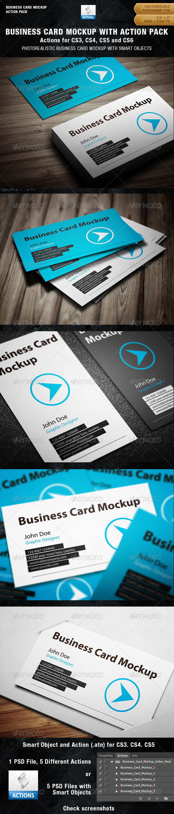 Business card mockup with actions pack by bluemonkeylab graphicriver business card mockup with actions pack reheart Images