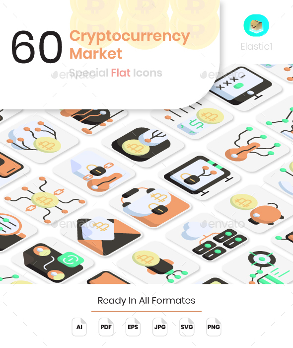 Cryptocurrency Market Flat Icons