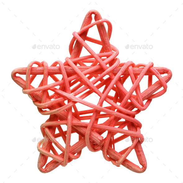 Red five-point star, handmade wicker decoration - Stock Photo - Images