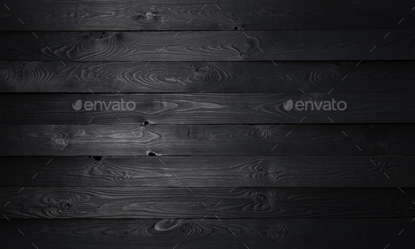 Black wooden background, old wooden planks texture - Stock Photo - Images