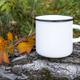 White campfire mug mockup with fall leaf - PhotoDune Item for Sale