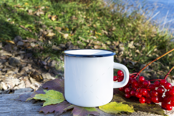 Placeit-White campfire mug mockup with fall viburnum - Stock Photo - Images