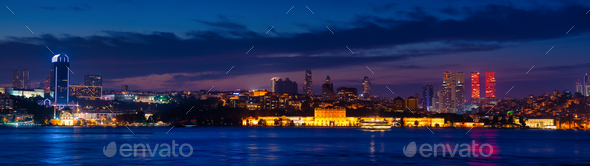 Skyscrapers of Istanbul at night - Stock Photo - Images