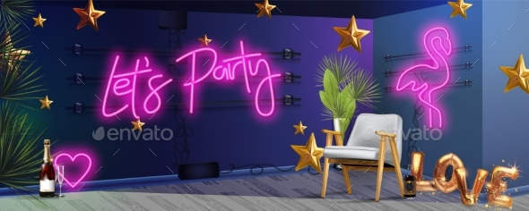 Lets Party Neon Sign Calligraphic Lettering Vector
