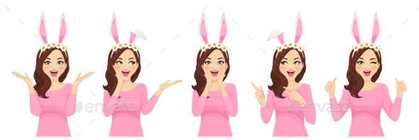 Surprised Easter Woman