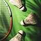 Summer activity concept, shuttlecocks for badminton game on green noisy background - PhotoDune Item for Sale