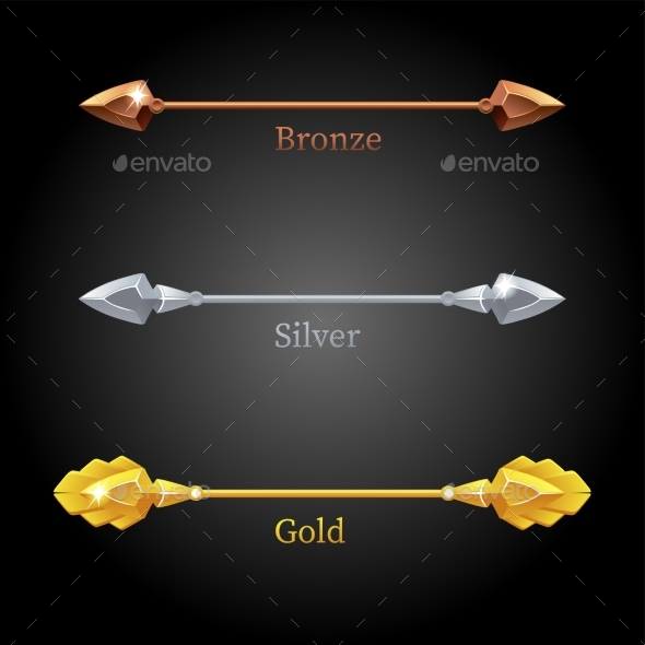 Gold Silver Bronze Spears for the Flag