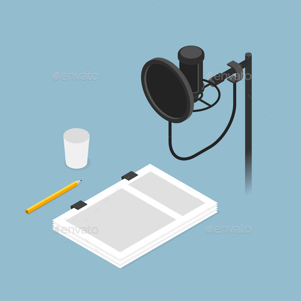 Film Dubbing Isometric Illustration