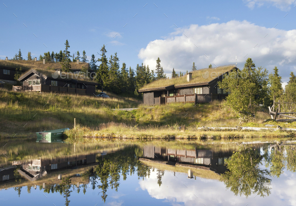 Wooden house in Aurdal - Stock Photo - Images