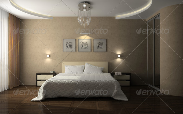Interior of the stylish bedroom - Stock Photo - Images