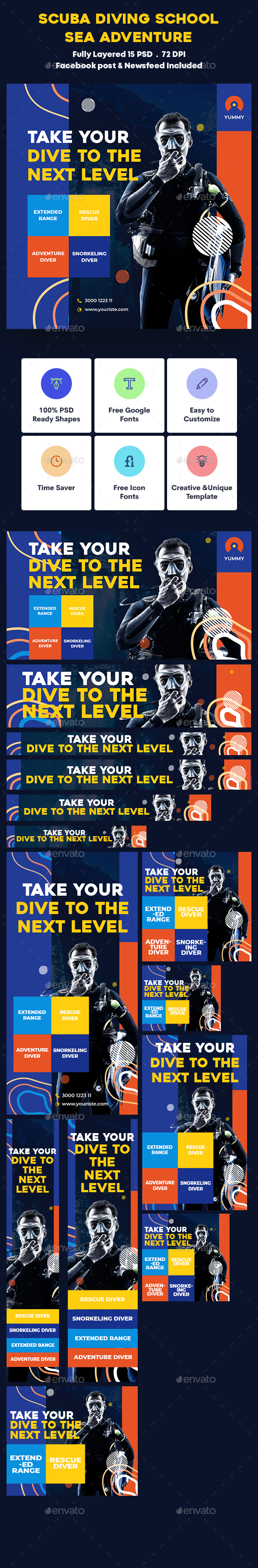 Scuba Diving School, Sea Adventure Banners Ad