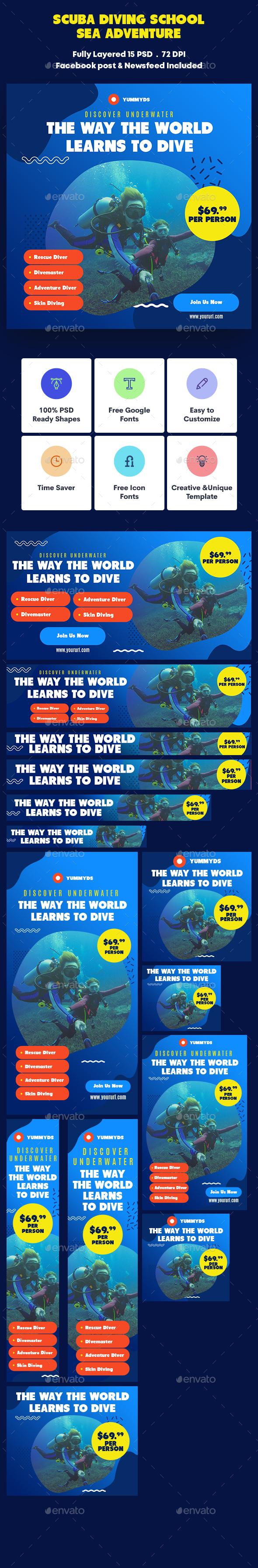 Scuba Diving School & Sea Adventure Banners Ad