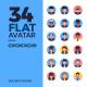 34 Avatar Round Flat Icons