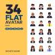 34 Flat Avatar Icons