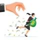 Hand Tries to Grab the Money Running Businesswoman