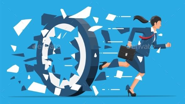 Businesswoman Running and Breaking Target