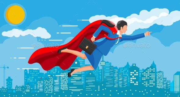 Superhero Businesswoman Flying Over Cityscape