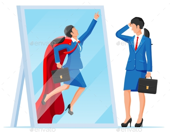 Businesswoman Facing Herself As Hero in Mirror