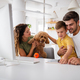Happy family with modern devices and dog having fun, playing at home - PhotoDune Item for Sale