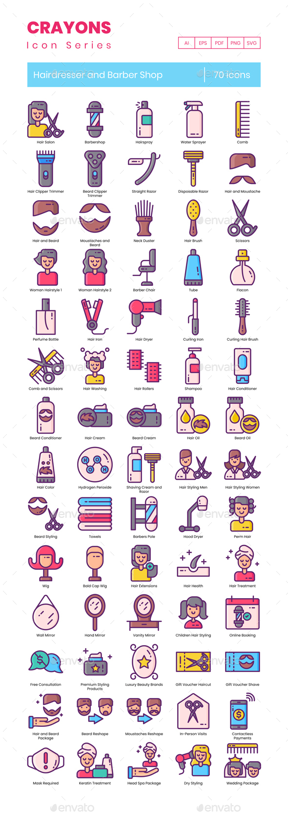 70 Hairdresser and Barber Shop Icons | Crayons Series