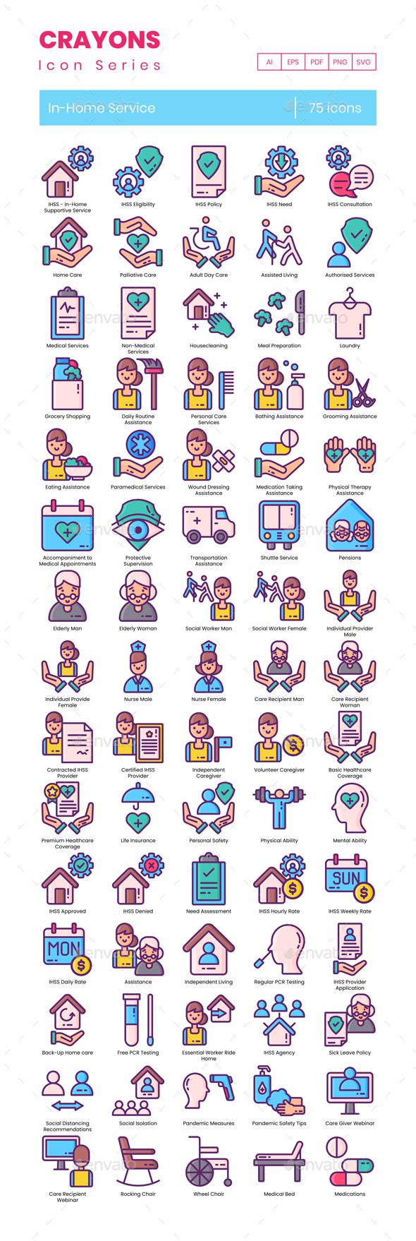 75 In-Home Services Icons | Crayons Series