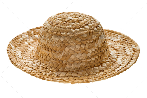 Round straw hat, side view - Stock Photo - Images
