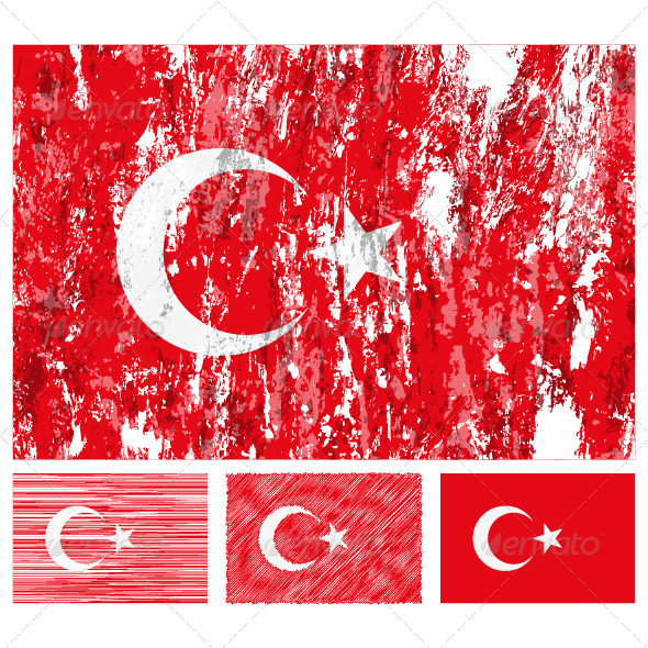 Turkey grunge flag set - Conceptual Vectors