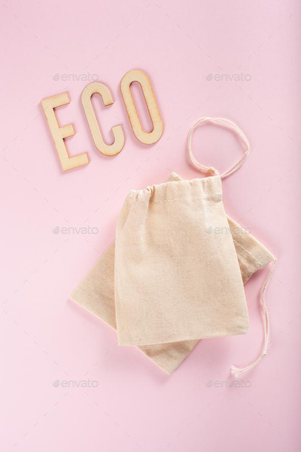 reusable cotton tea bag, eco zero waste concept - Stock Photo - Images