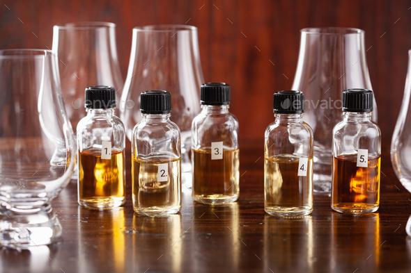 tasting bottles and glasses of whisky spirit brandy cognac. tasting at home - Stock Photo - Images