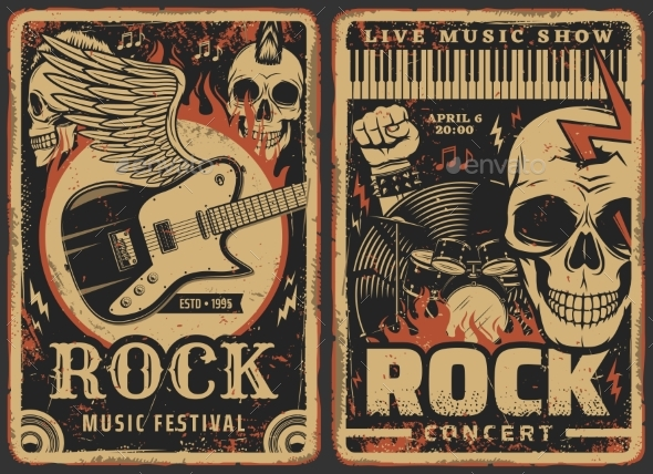 Rock Music Posters Concert Band Fest Live Music