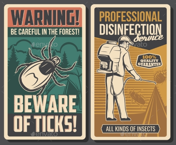 Disinfection Service Tick Bite Prevention Banners