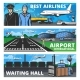 Aviation and Airport Services Vector Banners Set
