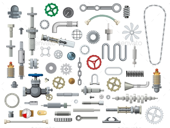 Ships and Boats Mechanisms Spare Parts Vector Set