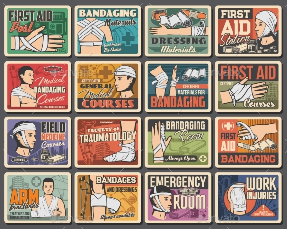 First Aid Medical Retro Posters Trauma Bandaging