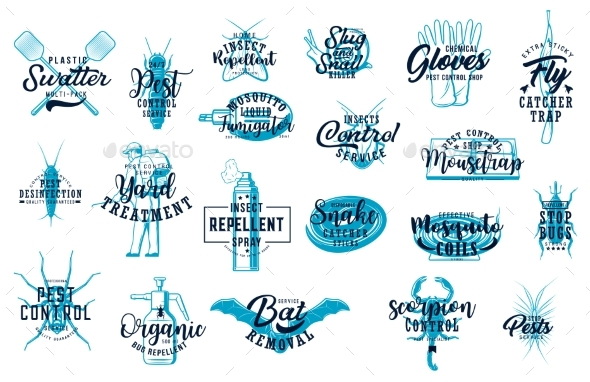 Deratization and Home Disinfection Sketch Icon Set