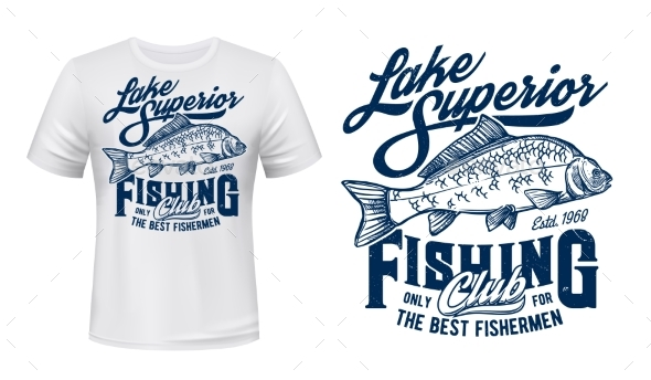 Fishing Club Tshirt Vector Print Mockup with Carp