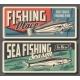 Hake and Sardine Fish Fishing Vector Retro Banners