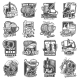 Craft Beer Brewery and Festivals Sketch Icons Set