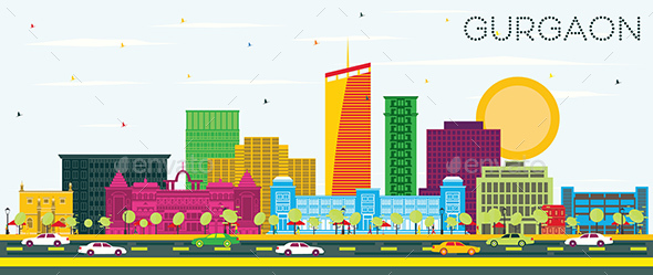 Gurgaon India City Skyline with Color Buildings and Blue Sky.