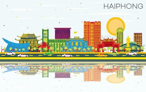 Haiphong Vietnam City Skyline with Color Buildings, Blue Sky and Reflections.