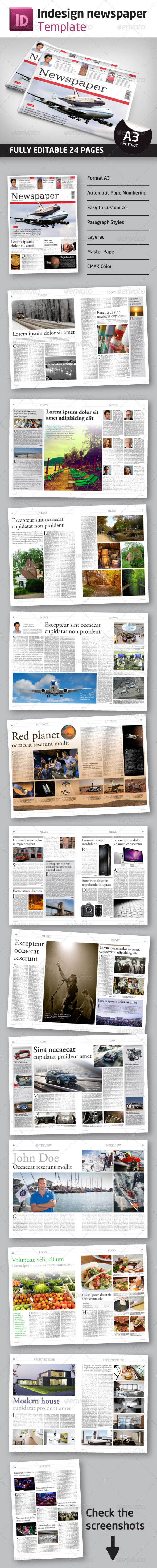 24 Pages Newspaper Template in A3 Format - Newsletters Print Templates