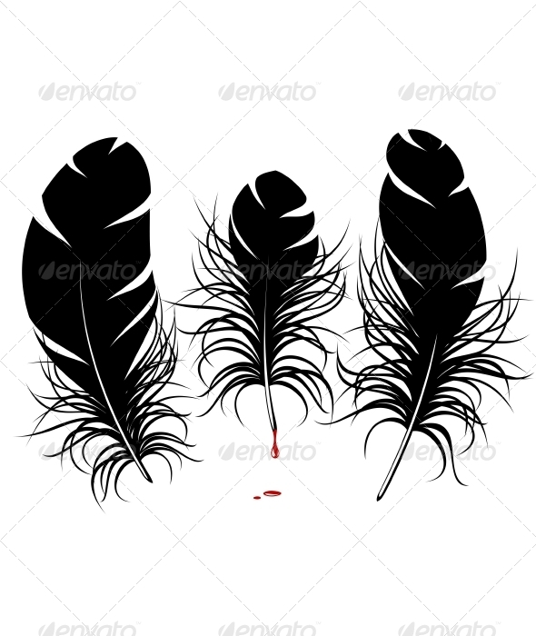 Vector feather silhouette - Animals Characters