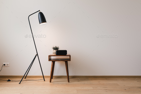 metal floor lamp and wooden coffee table with plant and clock with blank screen