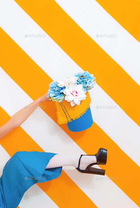 Unrecognizable Woman flowers mood - Stock Photo - Images