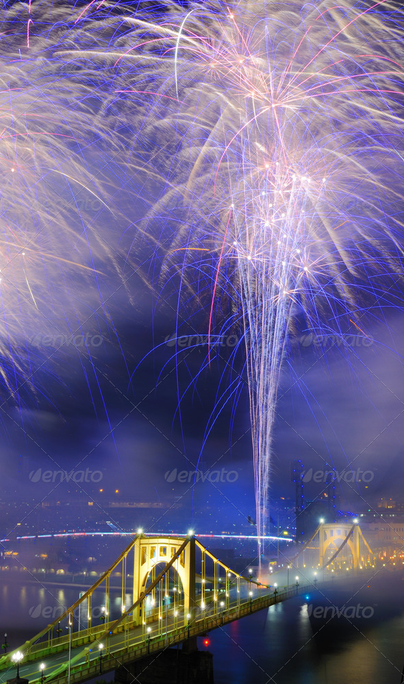 PIttsburgh Fireworks - Stock Photo - Images