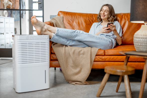 Woman sitting near air purifier and moisturizer appliance - Stock Photo - Images