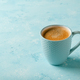 Cup of coffee on blue background - PhotoDune Item for Sale
