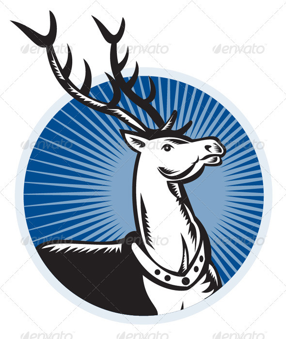 Deer Stag Buck Woodcut Retro - Animals Characters