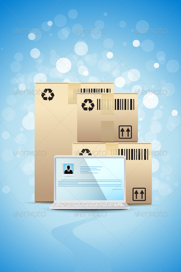 Blue Background with Laptop and Cardboard Boxes - Backgrounds Business